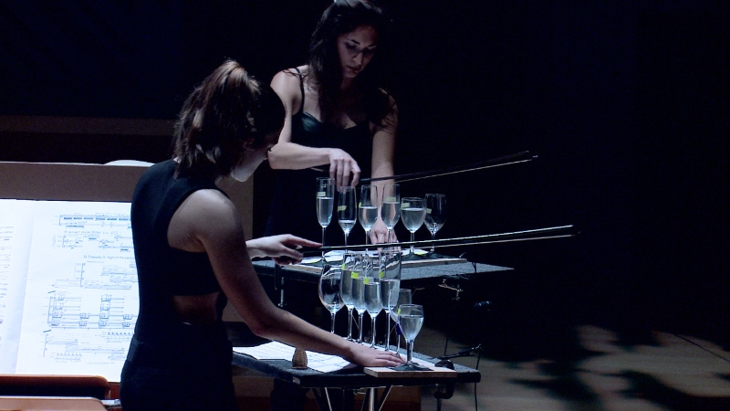 NWS violinists play goblets